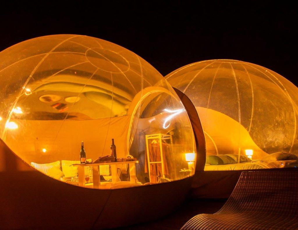 hébergements insolites bulles transparentes les gouttes d'eau