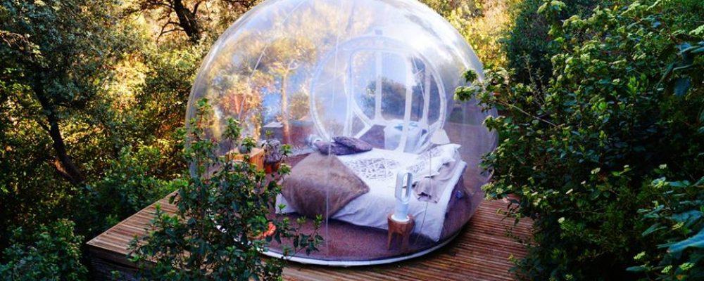 Dormir dans bulle transparente pour une nuit ou un week-end